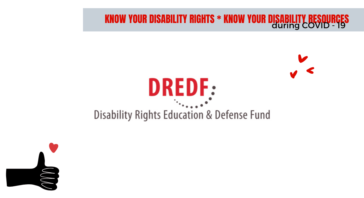 disability resources: dredf (image of white background, dredf logo which is red text reading