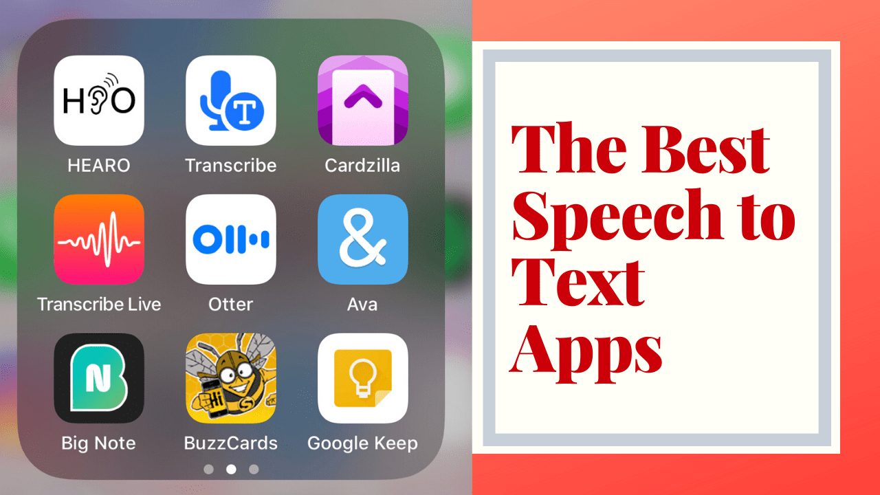 the best speech to text apps - image of various apps , an orange background with text reading