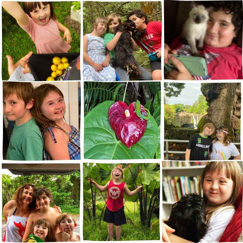 a collage of images of three children and one woman