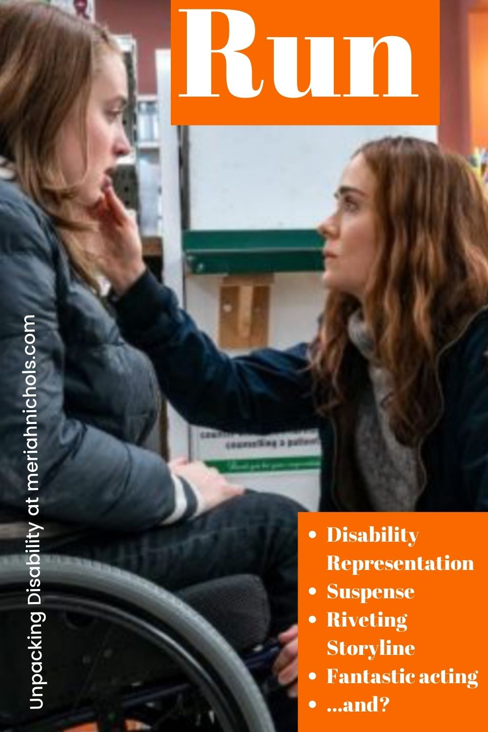 Run Movie Review: image of a woman seated in a wheelchair looking down at a woman sitting in front of her. the woman in front of her is touching her chin. Both are white, with brown hair. It appears that they are in a drugstore.