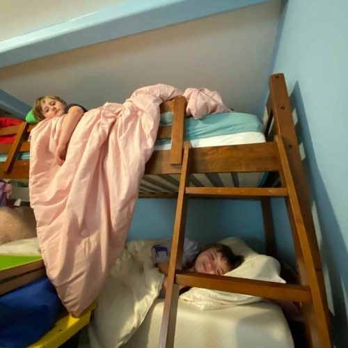 bunk beds in painted room