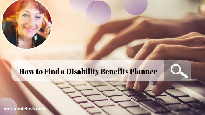 How to Find a Disability Benefits Planner: image of a keyboard and fingers typing, with a search bar in front, text reading