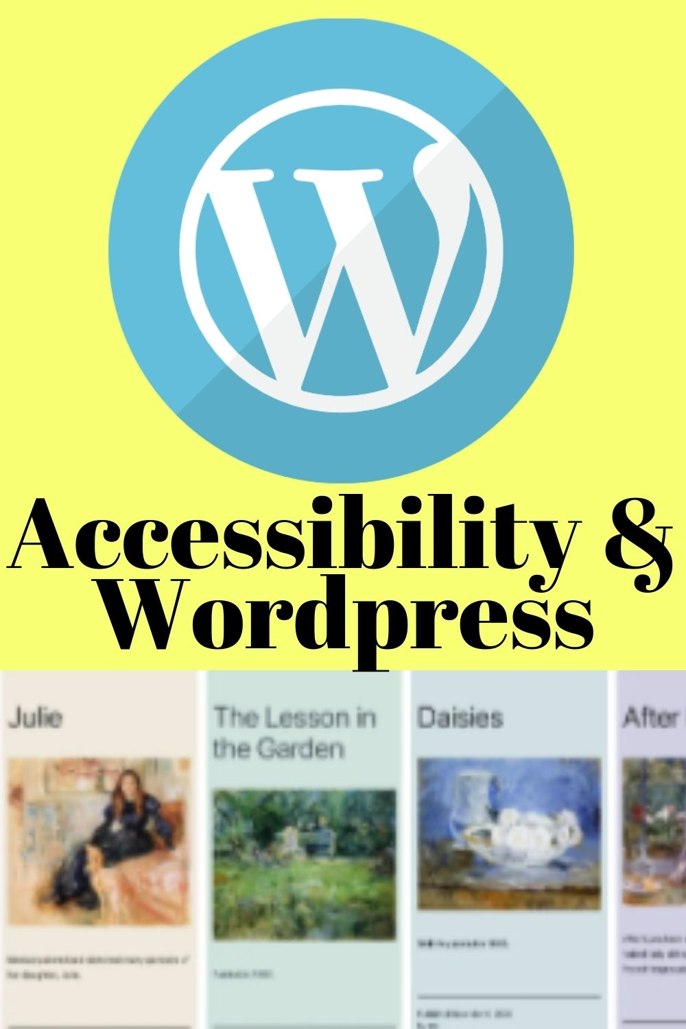 The recent update of WordPress Version 5.6.1 focuses on Accessibility and the default theme now has Accessibility at it's core with WCAG 2.1 at level AAA [ID: squares of new twenty twenty one theme pastel color options as well as black and white options]