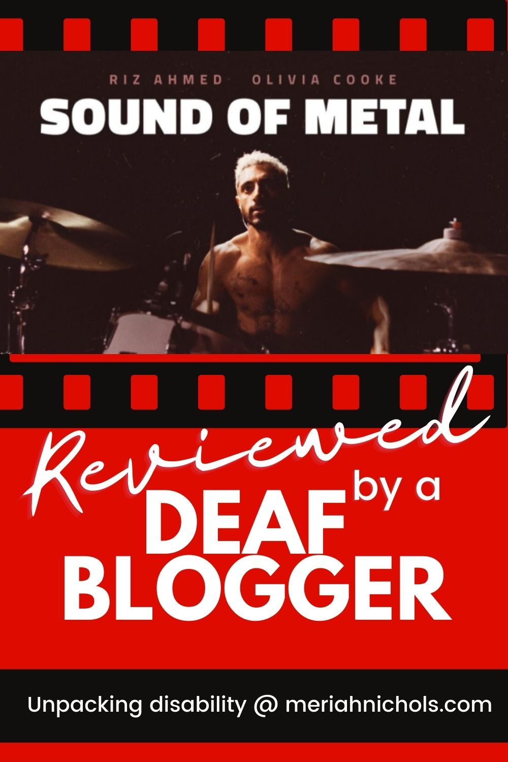 "text reads, ""sound of metal"" in white, photo of a shirtless brown man with tattoos and bleached blonde hair; his right hand is raised, holding a drumstick and he is in front of a drum kit"