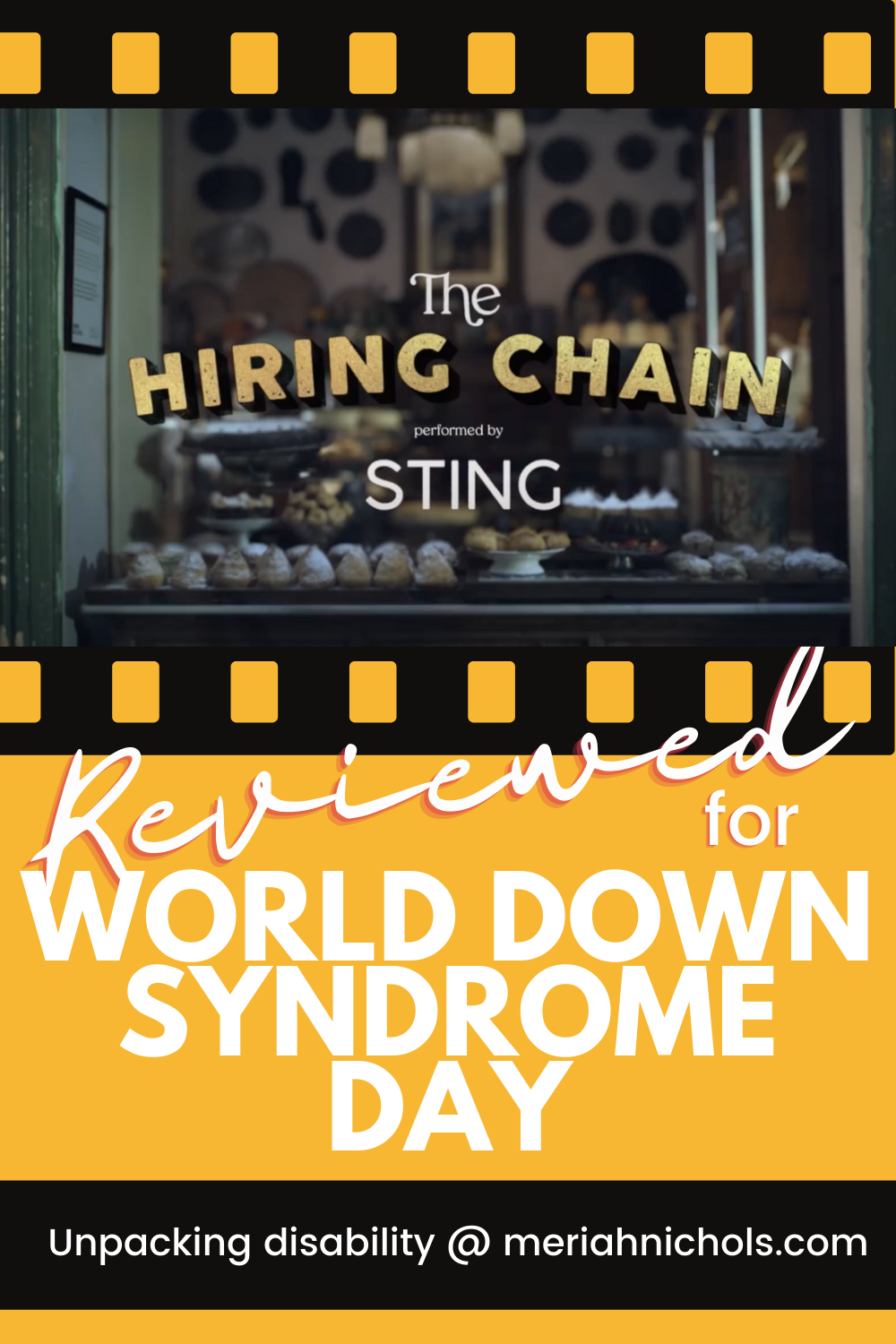 """The Hiring Chain, new video from Coor Down for World Down Syndrome Day, highlighting hiring people with Down syndrome [image of a glass front shop, text on the glass reads """"the hiring chain"""" featuring sting]"""