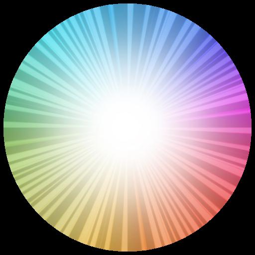 a rainbow bursts from light