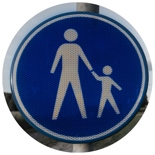 a blue sign with a parent holding a child's hand